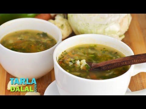 मिक्सड वेजिटेबल क्लीयर सूप   Mixed Vegetable Clear Soup by Tarla Dalal