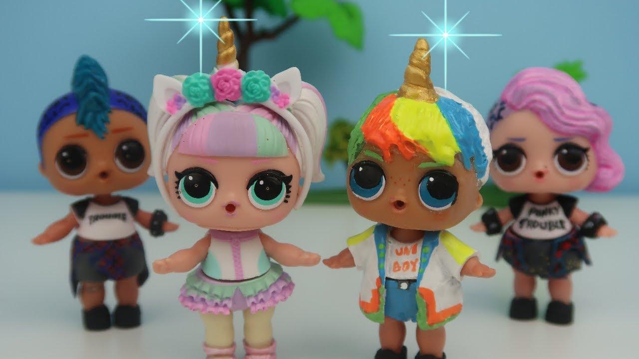 LOL Sürpriz Unicorn Boy Kendi yaptığım Big Brother LOL Erkek Bebek Uni Boy Toy Video Bidünya Oyuncak