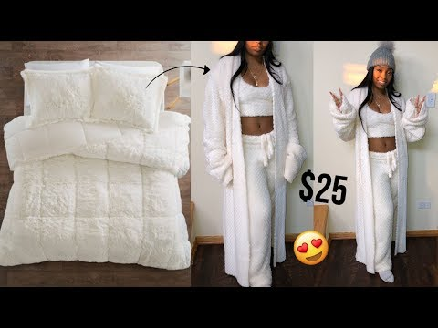 DIY KIM KARDASHIAN SKIMS | $25 COMFORTER TO FUZZY 3 PIECE SET | THRIFTED TRANSFORMATION VIDEO