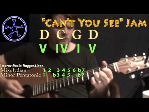 Can't You See Jam in D Mixolydian/G Major - Acoustic Guitar Jam Track