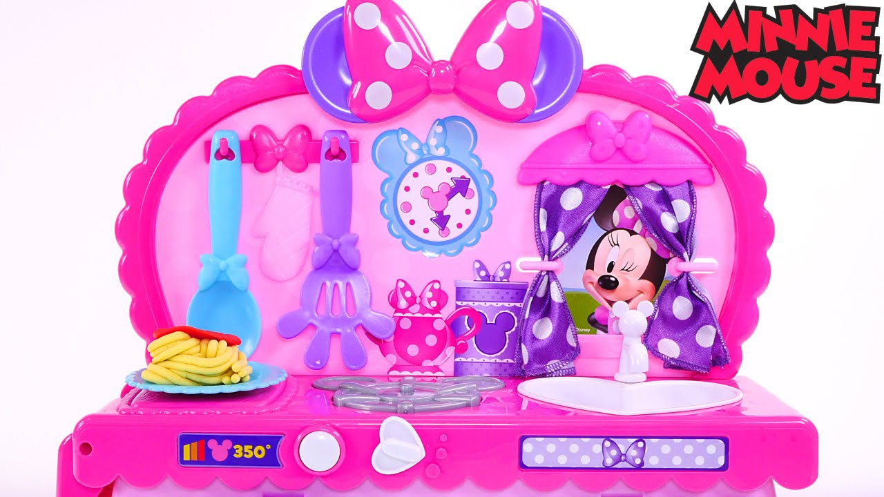 minnie mouse bowtastic kitchen play doh foods - kids disney toy