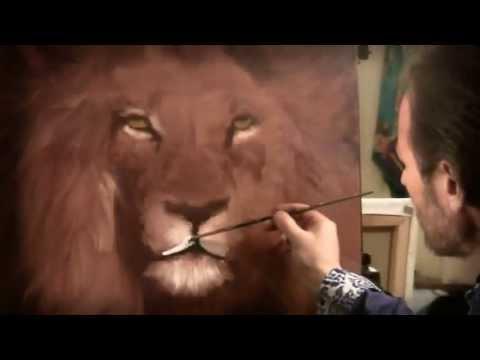 Artista ruso Igor Sajarov la imagen de un león
