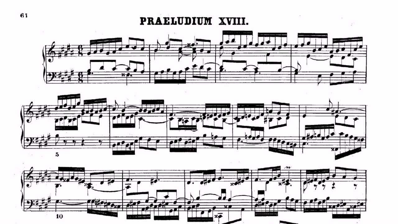 Ноты прелюдии и фуги си бемоль мажор хтк1 (бах).