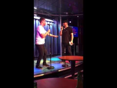 Lance Bass and Joey Fatone singing I Want it That Way Karaoke night on DirtyPopAtSea