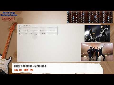 Enter Sandman - Metallica Guitar Backing Track with chords and lyrics