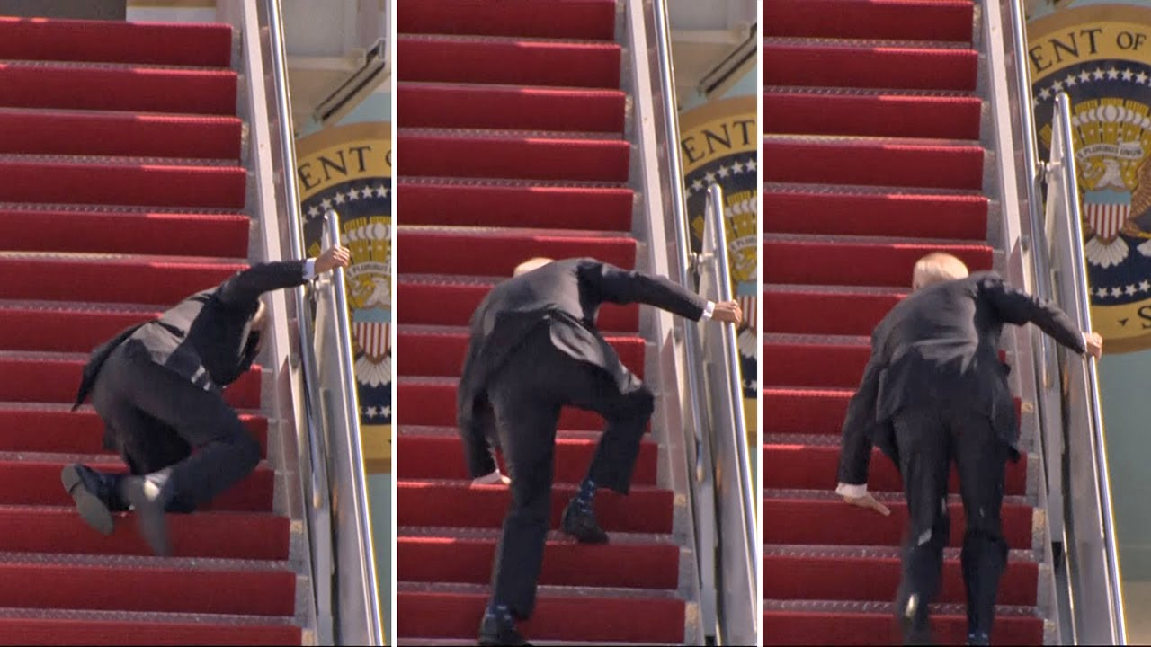 Joe Biden trips and falls three times boarding Air Force One