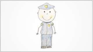 How to draw Community Helpers - Policeman for kids