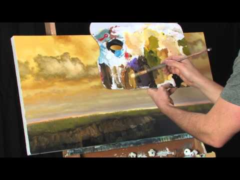 Time Lapse Landscape Acrylic Painting by Tim Gagnon Golden Break Stream
