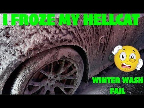Below Freezing Winter Wash FAIL | I Froze My Hellcat !!