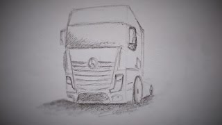 How to draw a truck Mercedes Benz
