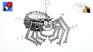 How to draw a funny Spider Real Easy