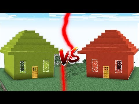 GREEN HOUSE VS RED HOUSE IN MINECRAFT!!