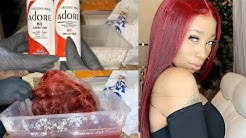 DIY | How To Watercolor Hair Red | Black To Red | Doubleleaf Wig