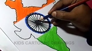 How to Draw INDIAN FLAG Detailed Color Drawing Step by Step for kids