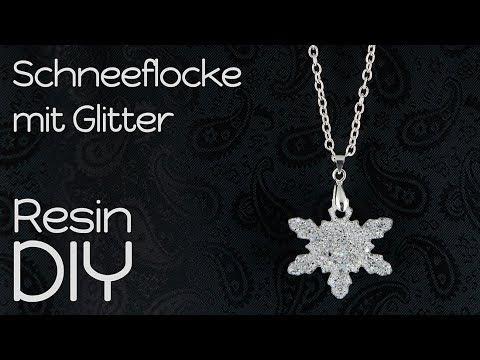 Resin Anfänger DIY Winter | Kette mit Glitzer Schneeflocke aus ...