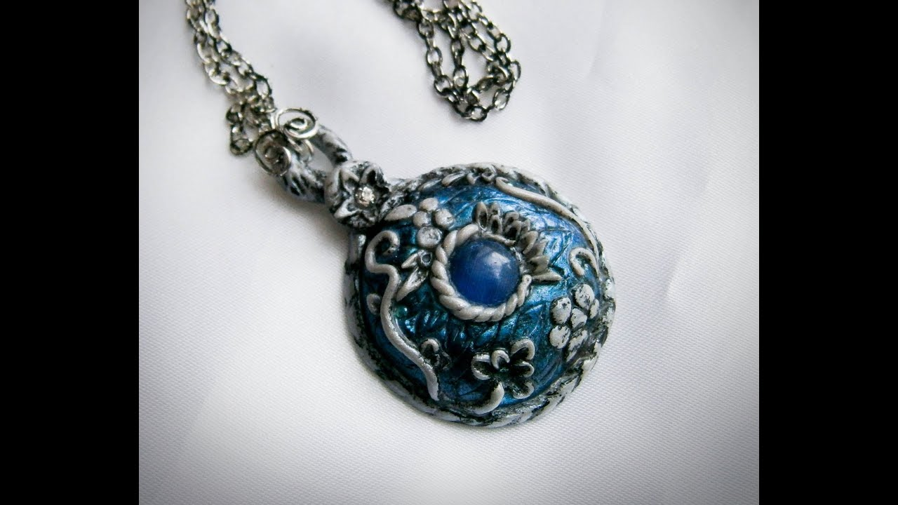 Polymer clay tutorial pendantnecklace ice realm amulet youtube mozeypictures