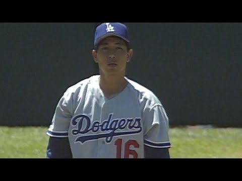 Hideo Nomo records his first K in the Majors