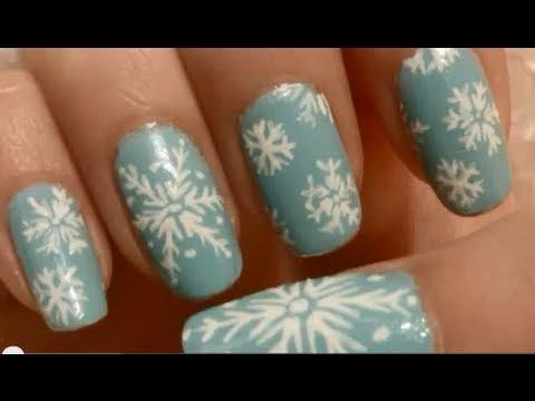 Snowflake nail art tutorial youtube snowflake nail art tutorial prinsesfo Images