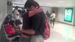 Long Distance relationship meeting for the first time surprise at the airport - Cute Love!!!