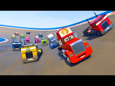 Thumbnail: Mack Truck and Race Trucks Color - Cars McQueen Jerry Truck and Friends - Videos for kids & Songs