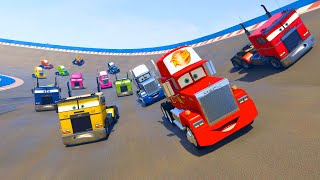 Mack Truck and Race Trucks Color - Cars McQueen Jerry Truck and Friends