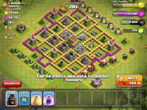 All Level 1 Hog Rider Attack (Clash of Clans) Town Hall 8 [40 Hogs]