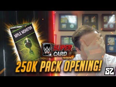 WWE SUPERCARD SEASON 4 - 250K CREDITS MONSTER PACK OPENING!!