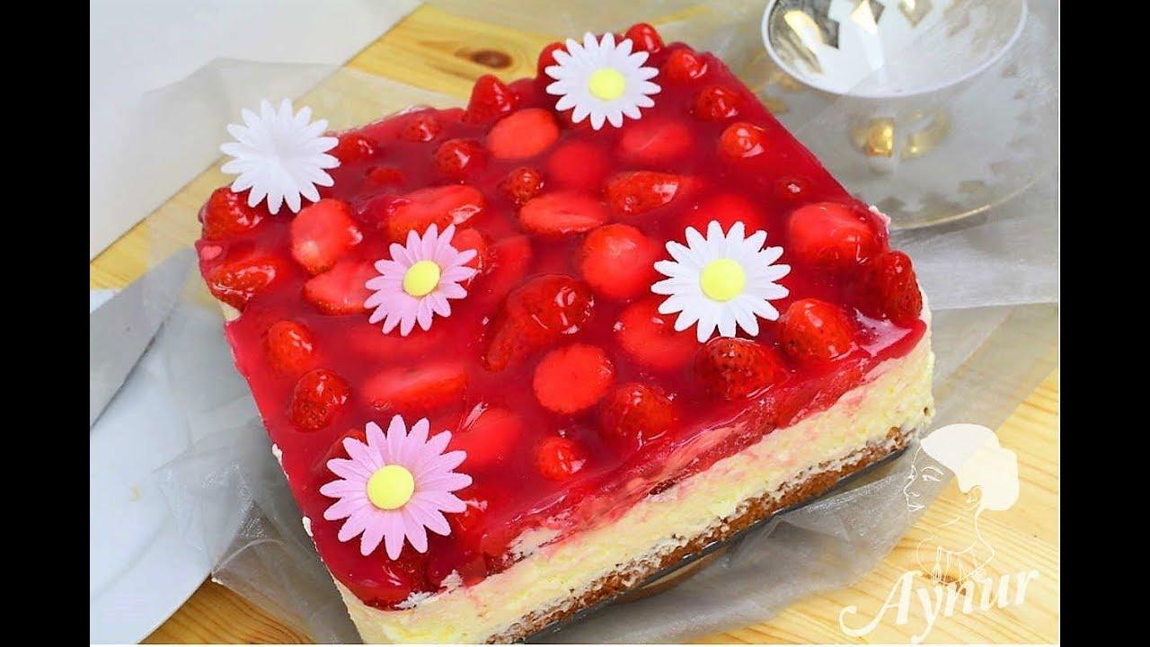 Erdbeer Quark Torte Einfach I Cilekli Yas Pasta Tarifi Pasta Nasil