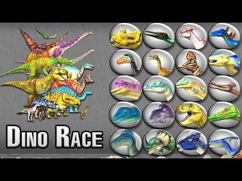 Dinosaur Race: Dinos Vs Animals #2 - Who is Faster?   Eftsei Gaming  