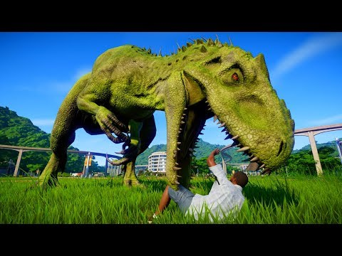 Indominus Rex & Albertosaurus & Allosaurus Breakout and Fight - Jurassic World Evolution
