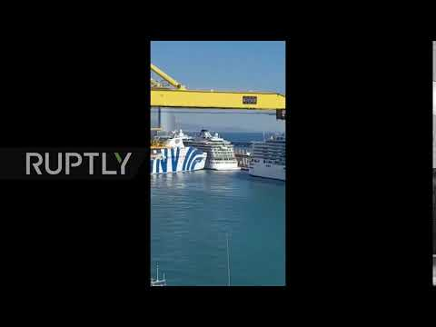 Spain: Ferry hits cruiser in Barcelona port