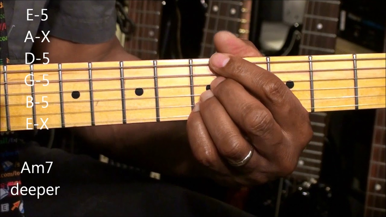 How To Play Funky A Minor Chord Shapes On Electric Guitar