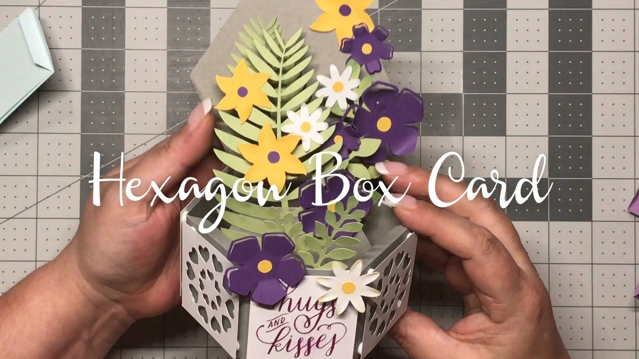 Hexagon Floral Box Card Free Svg File Youtube Pop Up Card Templates Box Cards Tutorial Cricut Birthday Cards