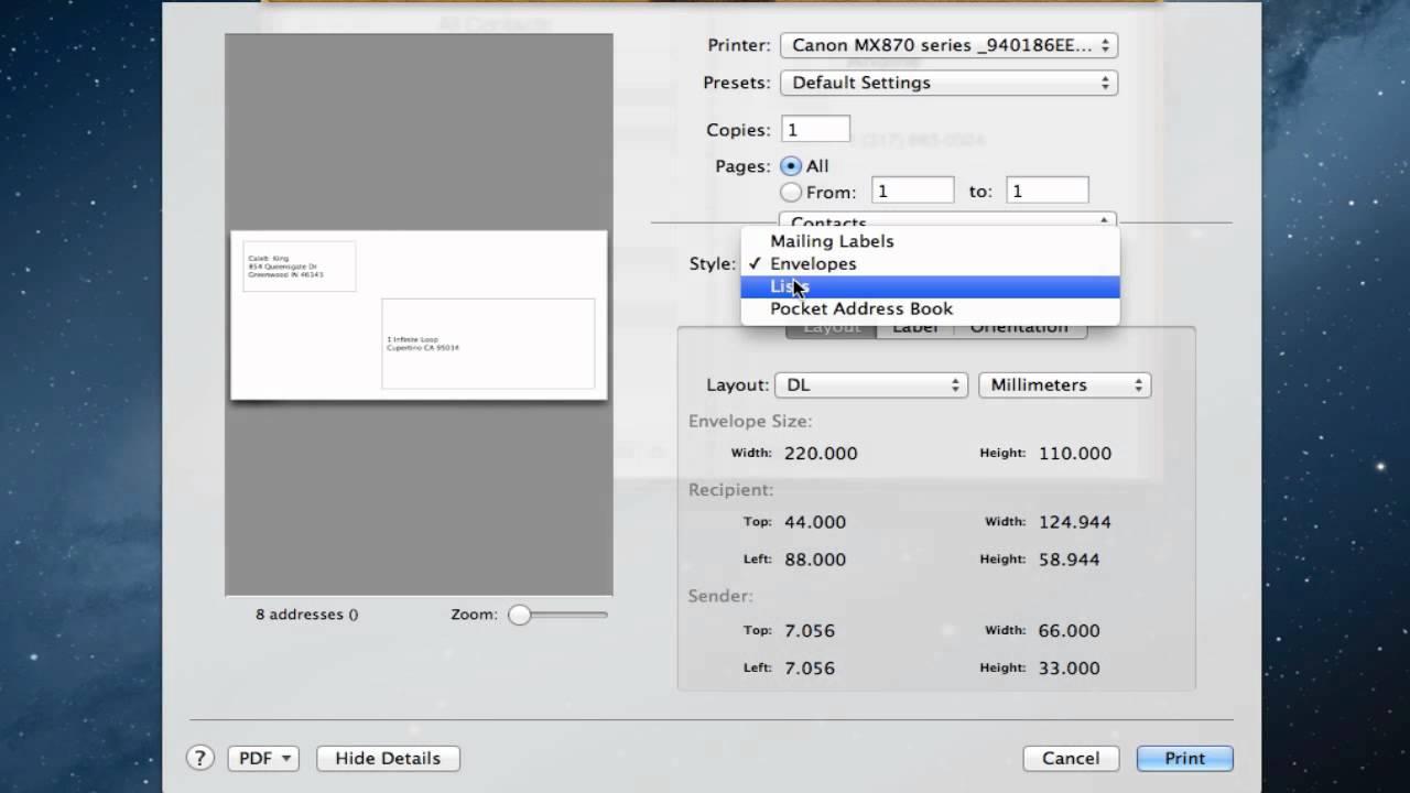 print pocket address book mac