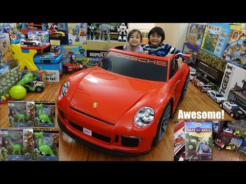 Arlo The Good Dinosaur RC and Talking Plush + Porsche GT3 Ride-On Power Wheels + Godzilla