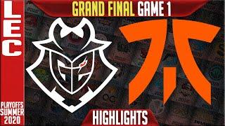 G2 vs FNC Highlights Game 1 | LEC GRAND FINAL Playoffs Summer 2020 | G2 vs FNC G1