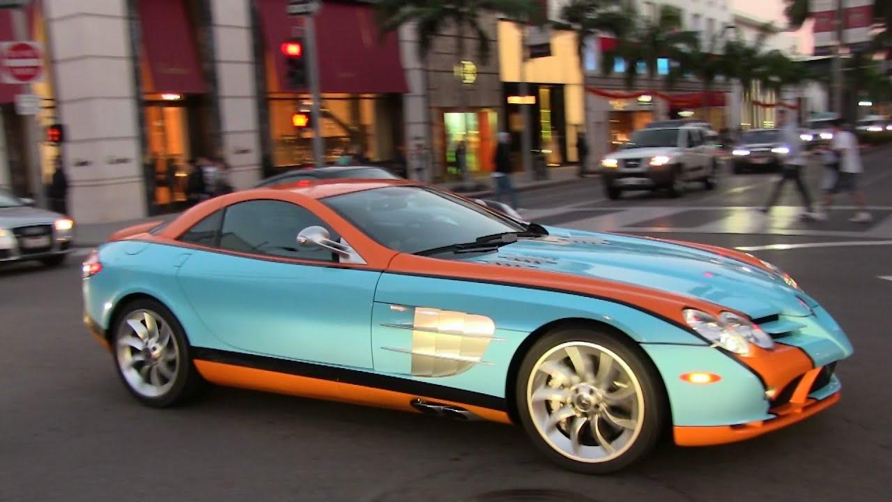 Gulf blue orange mercedes benz mclaren slr getting parking for Mercedes benz orange
