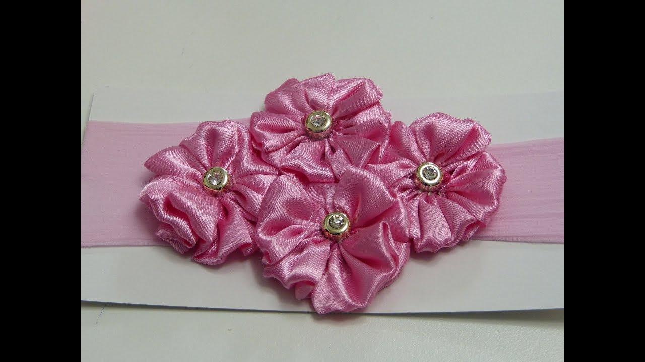 Flower fabric tutorial como hacer flores de tela satin para tiaras de bebe youtube - Flores de telas hechas a mano ...