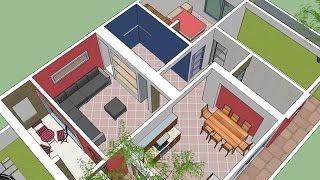 Casa simple 3D de la planta 100 M2