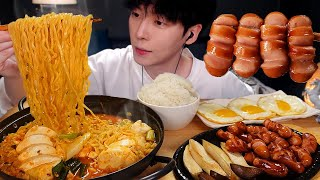 ASMR MUKBANG korean food, FIRE TOFU NOODLES, MUSHROOM, SAUSAGE, EGG, recipe ! eating