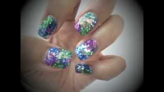 2 Minute Glitter Bling Gel  Nails Tutorial*QQ二分鐘閃甲分享