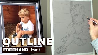 Pastel Portrait Tips ~ H๐w to draw the outline freehand... Pastel Pencils. Narrated Tutorial Part 1