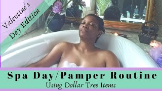At Home Spa Day Routine|Dollar Tree Items|Valentines Day Edition