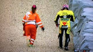 Luis Salom overemotional after crashing out at Moto2 race in Brno 2014.