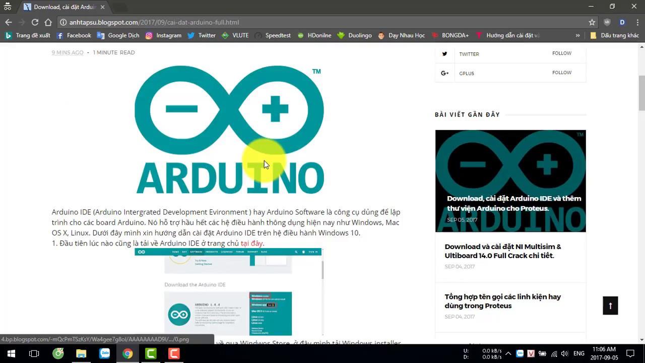 Download, cài đặt Arduino IDE và thêm thư viện Arduino cho Proteus