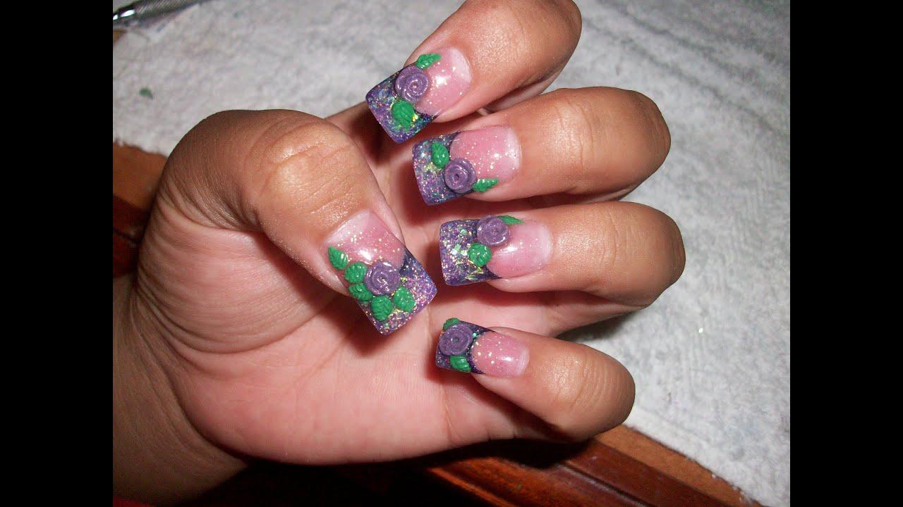 acrylic nails-purple glitter