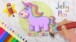 Unicorn coloring and drawing Learn Colors for kids | JELLY PEN