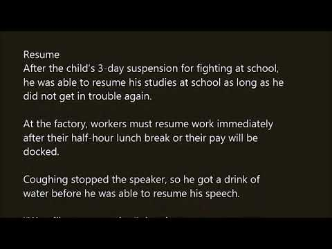 resume word in sentence with pronunciation youtube