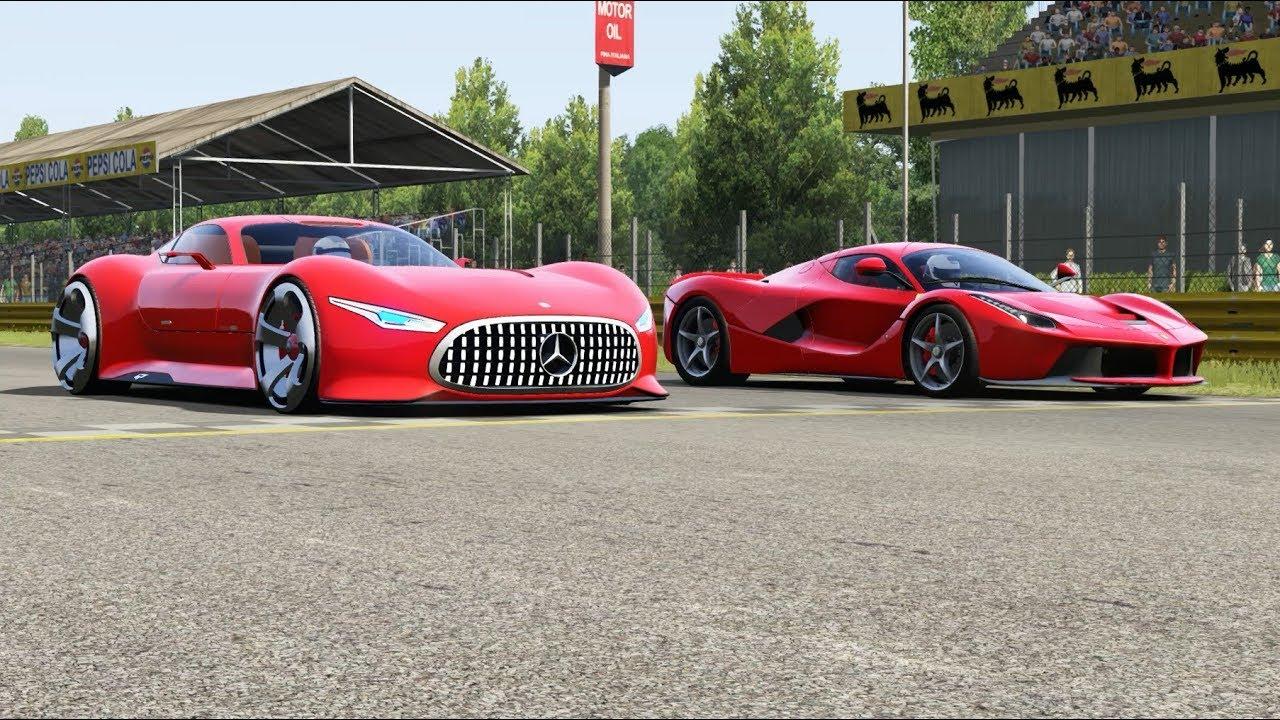 Mercedes Benz Amg Vision Gt Vs Ferrari Laferrari At Monza Full Course Youtube