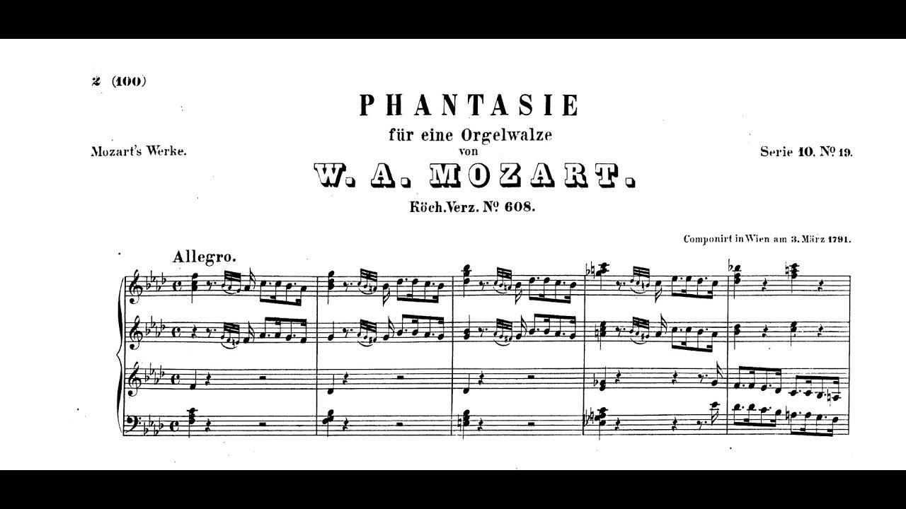Wolfgang Amadeus Mozart   Fantasie F moll, KV 20